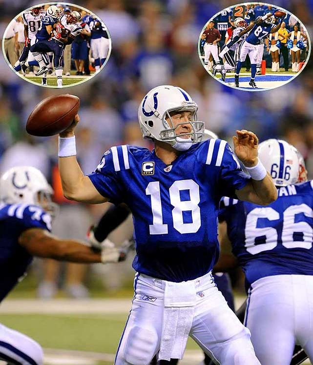 Trailing 31-14 in the fourth quarter, the Colts mounted a spirited comeback, highlighted by a defensive stop on 4th-and-2 with 1:57 remaining (left inset). That gave Indy the ball with a short field at the 29, and Peyton Manning needed only four plays to score (right inset). Matt Stover hit the game-winning extra point.