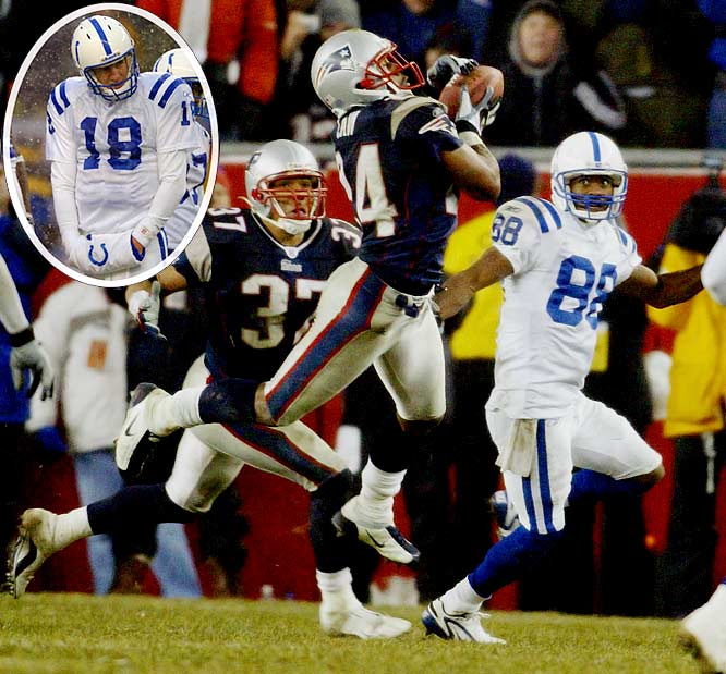 Ty Law had three of New England's four interceptions of Manning, and Brady was coolly efficient in helping the Pats advance to Super Bowl XXXVIII.