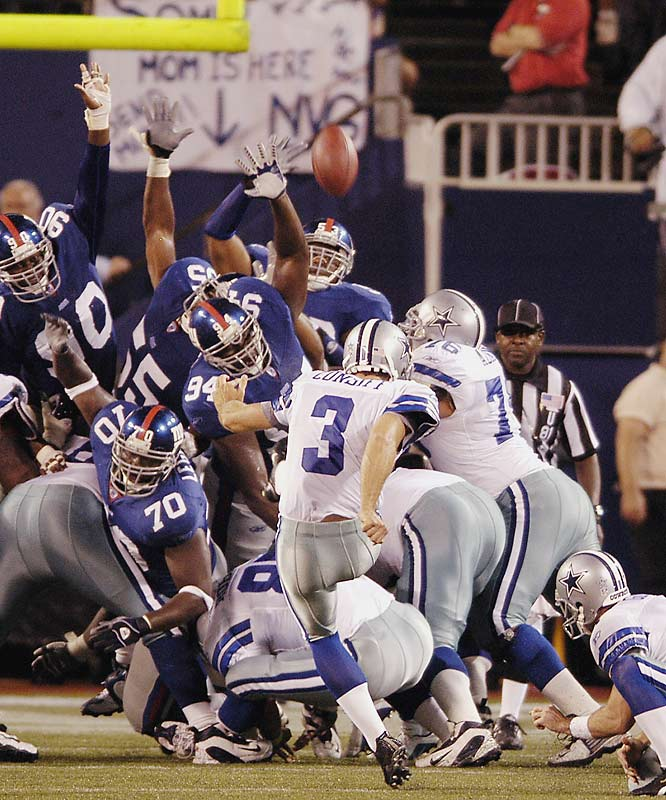 How did a kicker manage to overshadow the return of Bill Parcells to Giants Stadium as the head coach of the Cowboys? Simple. Dallas booter Billy Cundiff matched an NFL record with seven field goals -- including a 52-yard equalizer to force overtime and a 25-yarder to decide the game -- as the visiting Cowboys took a 35-32 victory over their division rivals.