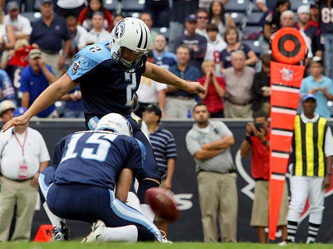 Bironas set an NFL record with eight field goals, including a last-second game-winner to topple the Texans. Four other kickers had made seven field goals, but Bironas stands alone at eight.