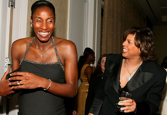 Lisa Leslie, dressed in a full-length evening gown, diamonds and an updo, had a laugh with Cheryl Miller earlier this year at a Women's Sports Foundation event in Beverly Hills.