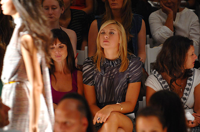 Maria Sharapova sat alongside fashion editors in the front row of the Peter Som Spring 2008 show during Fashion Week at Bryant Park.