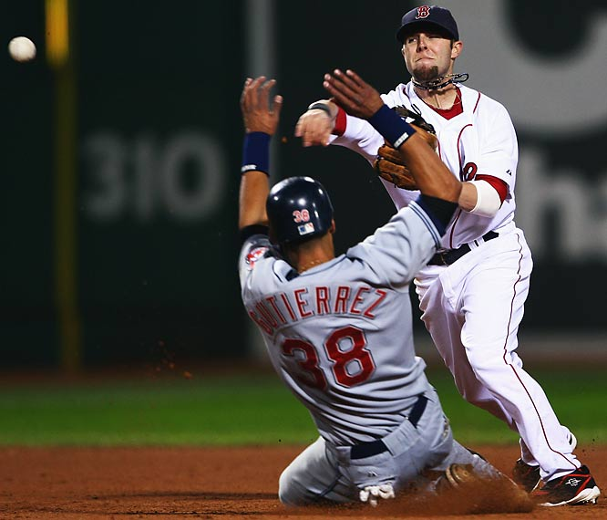 Dustin Pedroia proved with his timely play that he is far more than a rookie. He had a hand in  a few inning-ending double plays against the Indians.