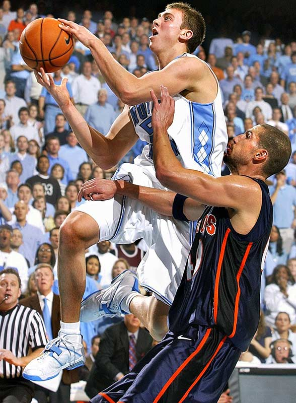 Tyler Hansbrough (pictured), Deon Thompson, Alex Stepheson, Marcus Ginyard<br><br>Hansbrough is the preseason frontrunner for every national player-of-the-year award, and for good reason: He's capable of averaging 20-and-10 as a junior. Thompson, who will assume the power-forward spot vacated by Brandan Wright, played only 12.4 minutes per game as a freshman, but was highly productive and should blossom into one of the ACC's better low-post players.