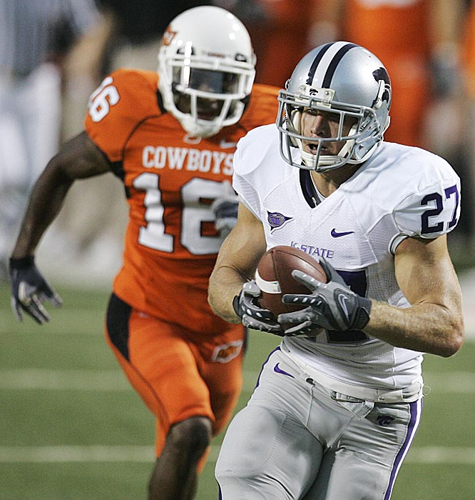 Kansas State's Jordy Nelson had 174 yards receiving and scored three TDs, but it wasn't enough as the Cowboys tallied the win on a last-second field goal.