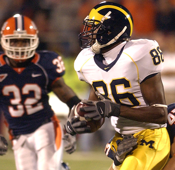 Michigan's Mario Manningham had nine catches for 109 yards and two scores to help offset the absence of running back Mike Hart.