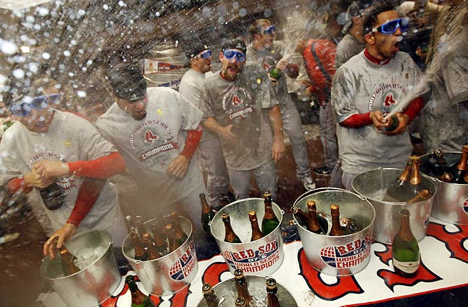 The champagne was flowing in the locker room as the Red Sox celebrated their second World Series win in four years.