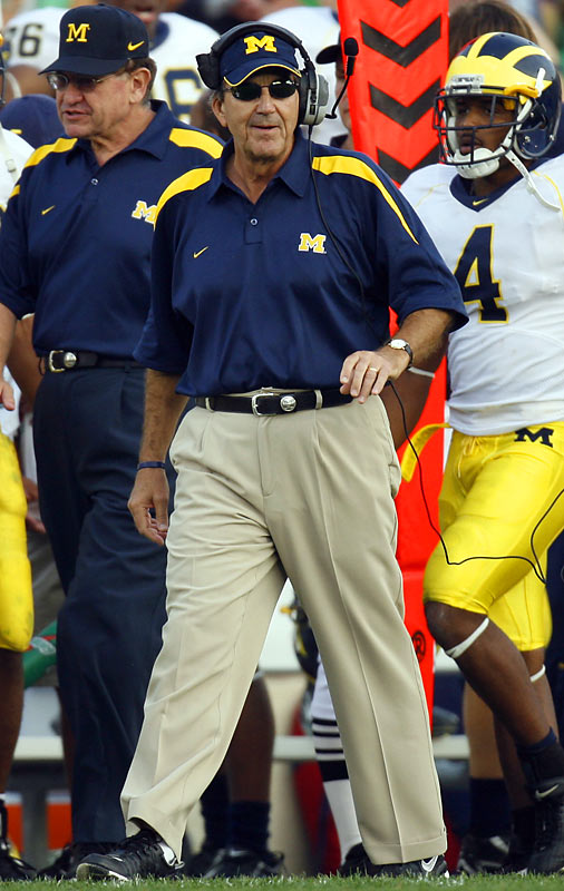 The Michigan man announced his retirement after a 14-3 loss to Ohio State. This, after 28 years in Ann Arbor, the last 13 as head coach. Carr (121-40) won five Big Ten titles and the 1997 national championship. Yet he lost the '07 opener at home to Appalachian State and to later lost to Ohio State's Jim Tressel for a fourth straight year (and sixth in seven).