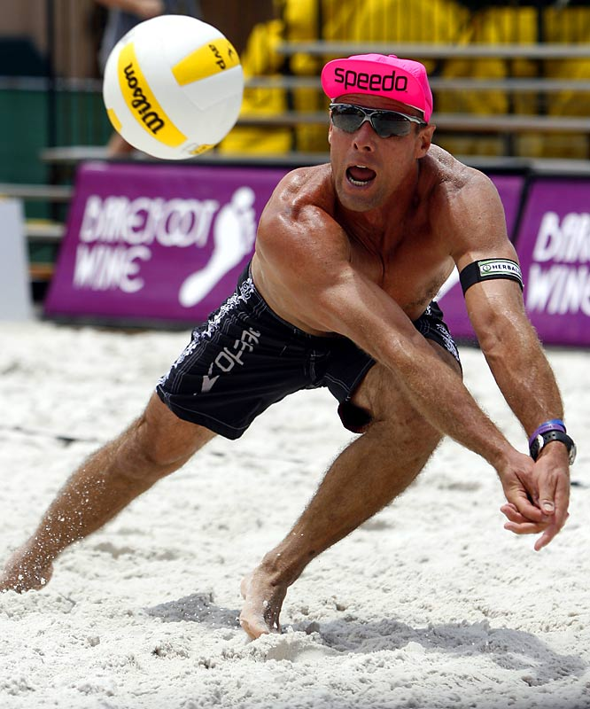 The old man in the neon pink hat was The Man in volleyball. Arguably the best player ever, Kiraly's the only guy to win Olympic gold in the indoor and beach versions of the sport. He helped the U.S. win in 1984 and '88, struck two-man beach gold in Atlanta in '96, and popularized pro beach volleyball by winning 148 AVP tournaments.