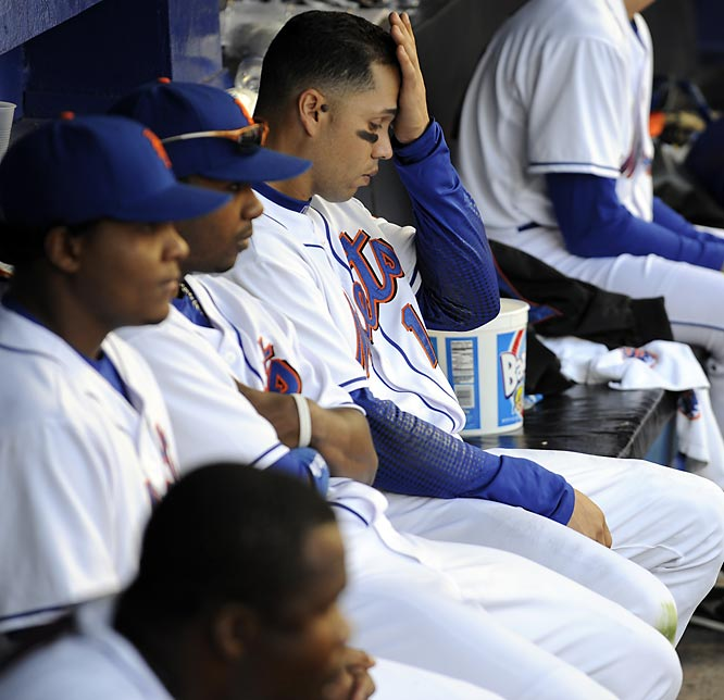 There are losing streaks, and then there are historic, stomach-cringing collapses. The Mets had a seven-game lead on Sept. 12 with 17 games to play. Then it all fell apart. They lost five of six at home to the Nationals and Marlins in the final week of the season. It matched the largest blown lead in September and trumped the '64 Phillies, who had a 6 1/2-game lead with 12 to play. The <i>New York Daily News</i> ran a poll on the final day of the season, asking Met fans if it was the worst day in franchise history. Eighty-five percent voted yes.