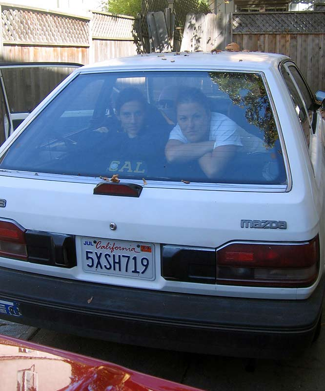 "The award for hottest house car easily goes to ""Crusty,"" Bistue's 1989 Mazda 323 Hatchback. Sexy, right?"