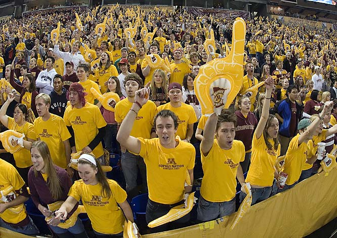 Minnesota fans cheer prior to Saturday's game against Illinois at the Hubert H. Humphrey Metrodome.