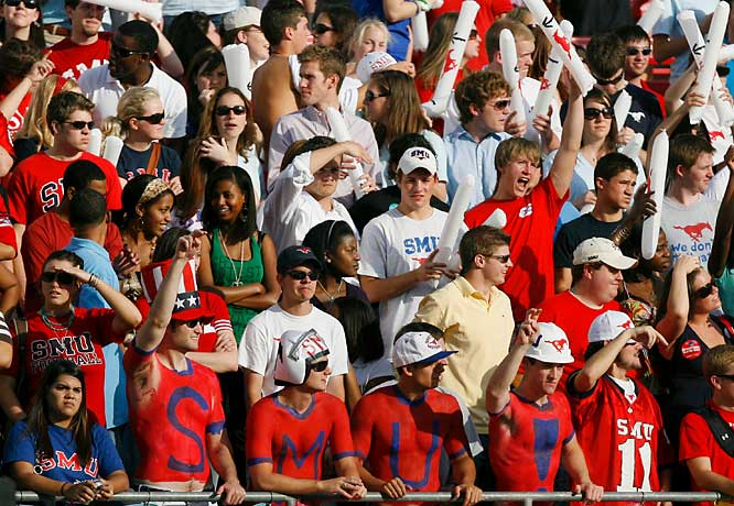 Southern Methodist fans enjoy a front-row view of the action during the Mustangs' 43-42 loss to Rice.