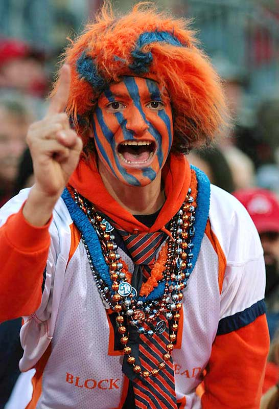 An Illinois fan dons the facepaint for the Illini's victory over top-ranked Ohio State.