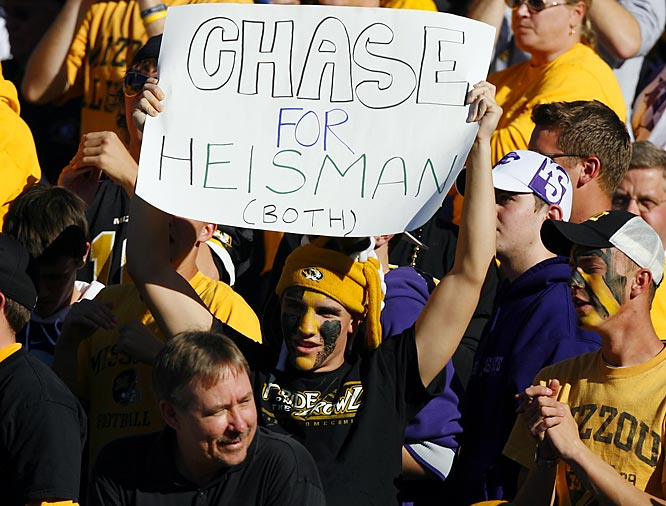 This Missouri fan lets the nation know who his Heisman choice is.
