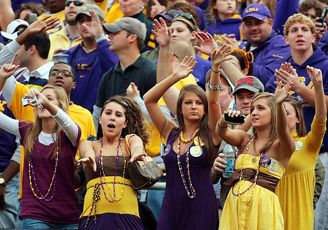A group of LSU's finest coeds enjoy a dance break in the middle of the Tigers' victory over Ole Miss.