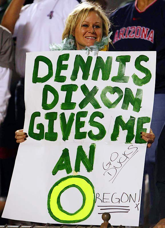 While we certainly admire Dennis Dixon's vast talents, we're not sure we'd go as far with the praise as this Duck fan did.