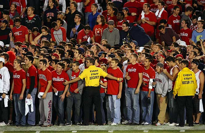Arizona fans are ready to storm the field late in the fourth quarter of the Wildcats' 34-24 upset of Oregon.