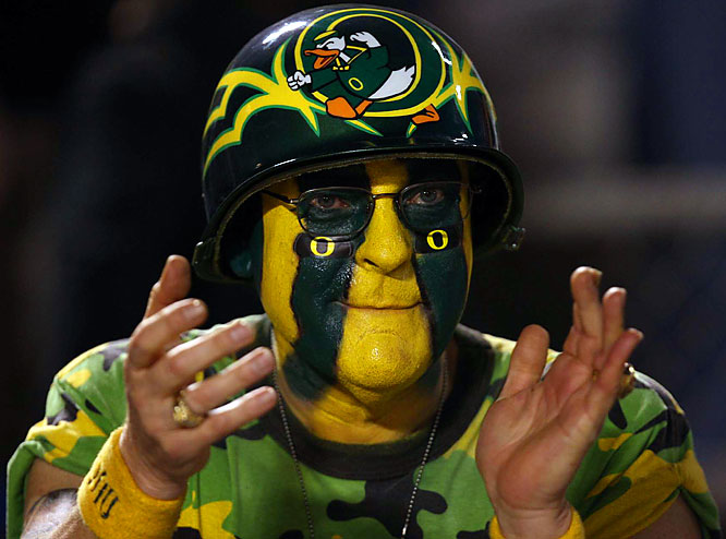 Kudos to this Oregon fan for the face paint-helmet combo.