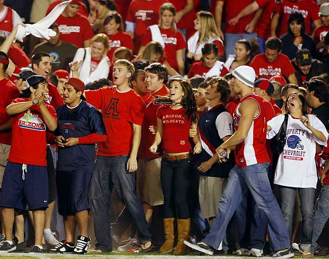 Arizona fans anxiously await the post-game celebration after the Wildcats knocked off then-No. 2 Oregon.