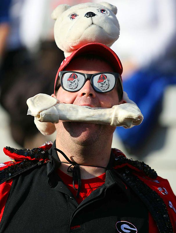 Our outfit of the week goes to this Georgia fan -- though we can't imagine that bone tastes very good.