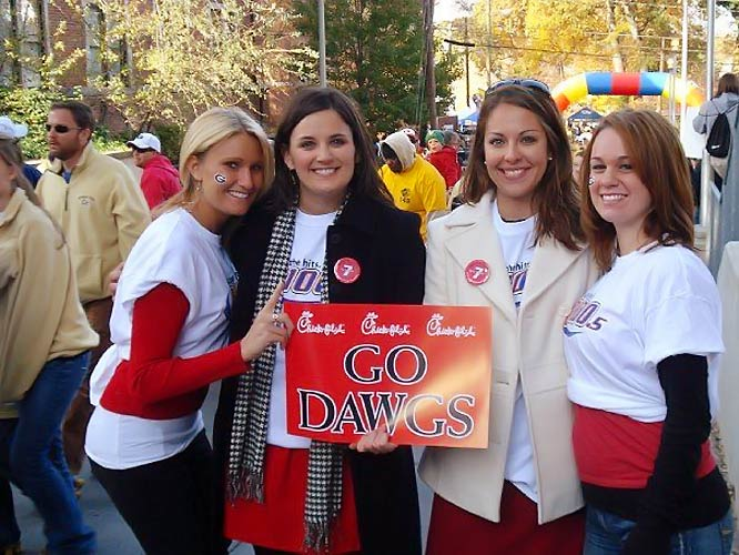 These UGA fans were all smiles before the Dawgs' battle with Georgia Tech.