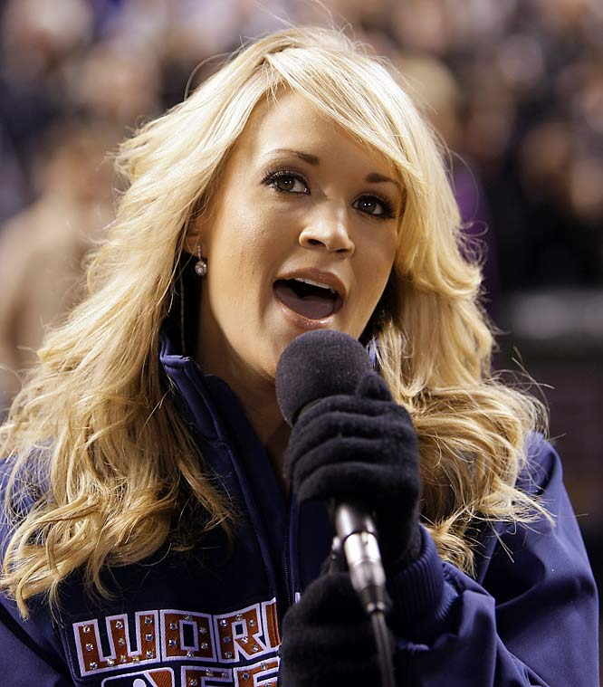 Carrie Underwood sang the national anthem before Game 3 of the World Series last Saturday.