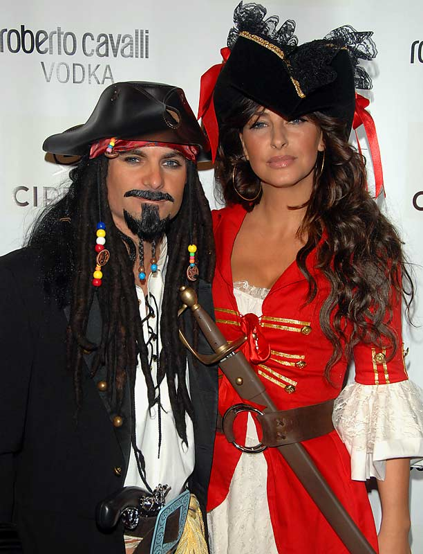 Jeff Gordon and wife Ingrid Vandebosch went the Pirate route for a Halloween party they attended on Wednesday...