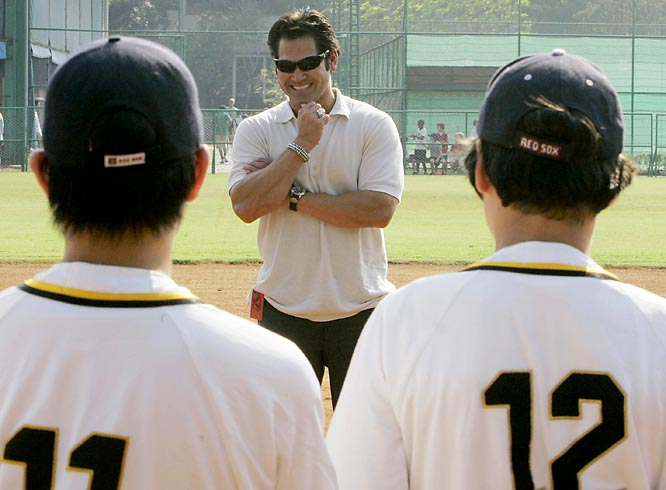 Johnny Damon talked to kids at a youth friendship baseball game in Bangkok, Thailand, on Tuesday. We're not sure, however what the devilish grin is about.