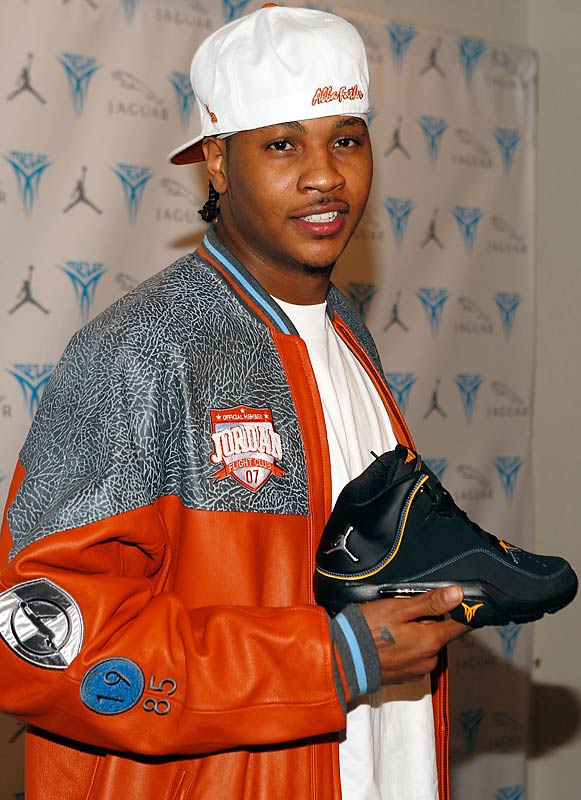 "Carmelo Anthony showed off his new kicks at the launch party for his ""Jordan Melo M4"" sneaker on Wednesday."
