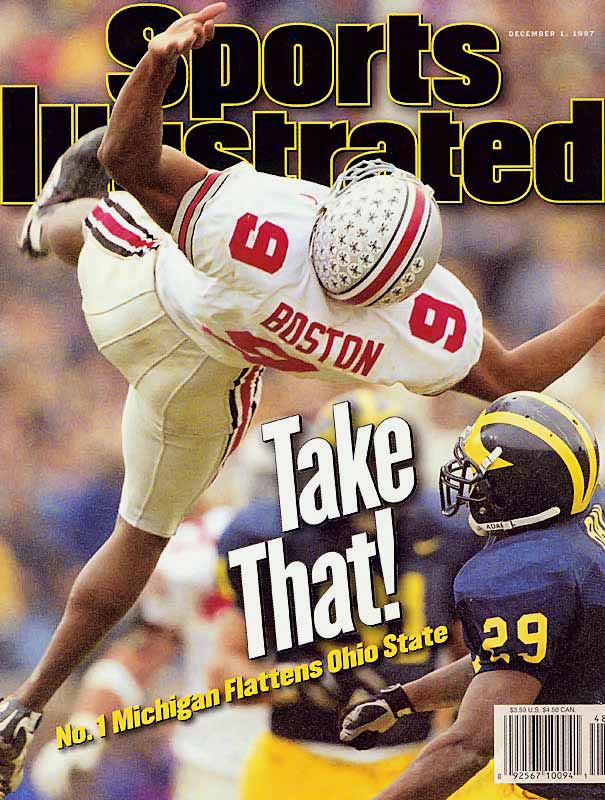 Ranked No. 1, Michigan beat No. 4 Ohio State by six points, earning its first chance at a national title in 50 years. The victory cemented defensive back Charles Woodson's Heisman win after he picked off a pass in the end zone and returned a punt 78 yards for a touchdown.