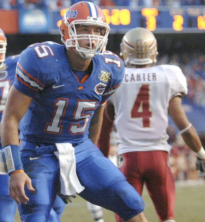 Tim Tebow threw three touchdown passes and ran for two scores as he totaled 351 yards in the Gators' romp of Florida State.