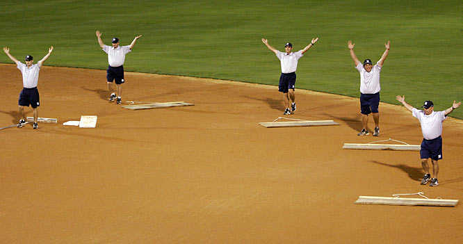 An arena staple, the disco-era hit by the Village People was adopted by the Yankee Stadium grounds crew, which goes through the motions while it drags the infield during the fifth inning.