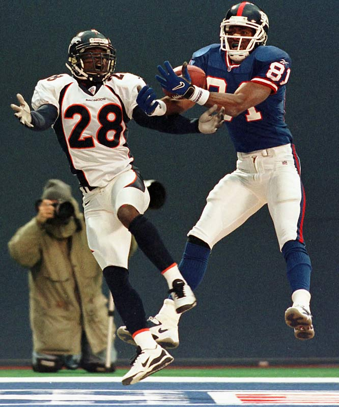 With just 48 seconds remaining in regulation, Amani Toomer wrestled a Kent Graham pass from Denver cornerback Tito Paul in the back of the end zone. Officials ruled the pass incomplete but reversed the call after a conference. Any lingering controversy was forgotten after the Broncos lost their second straight game in Miami the following week -- but Denver would win out through the Super Bowl to bring home their second consecutive league championship.