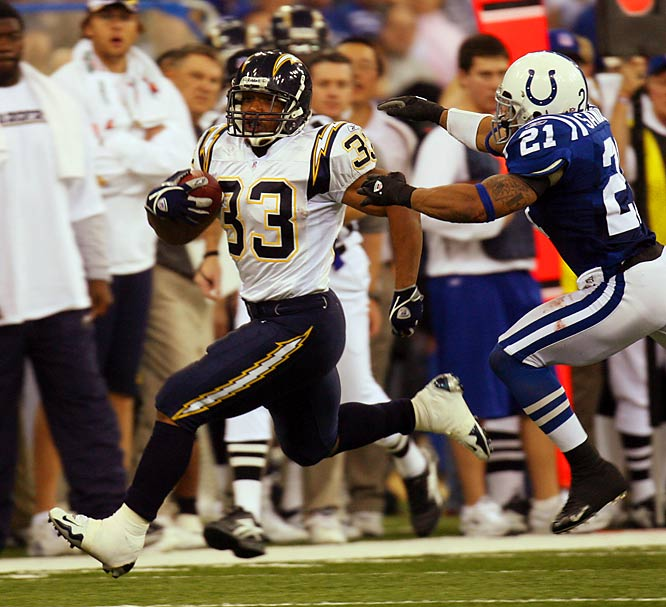 Peyton Manning rescued the Colts from a 16-0 hole with two touchdowns and a field goal during a six-minute span in the third quarter. But Nate Kaeding's field goal from 49 yards and Michael Turner's devastating 83-yard touchdown rumble closed the scoring. Indy's dream season would end in the first round of the playoffs after sixth-seeded Pittsburgh survived a Jerome Bettis goal-line fumble in a miraculous 21-18 upset.