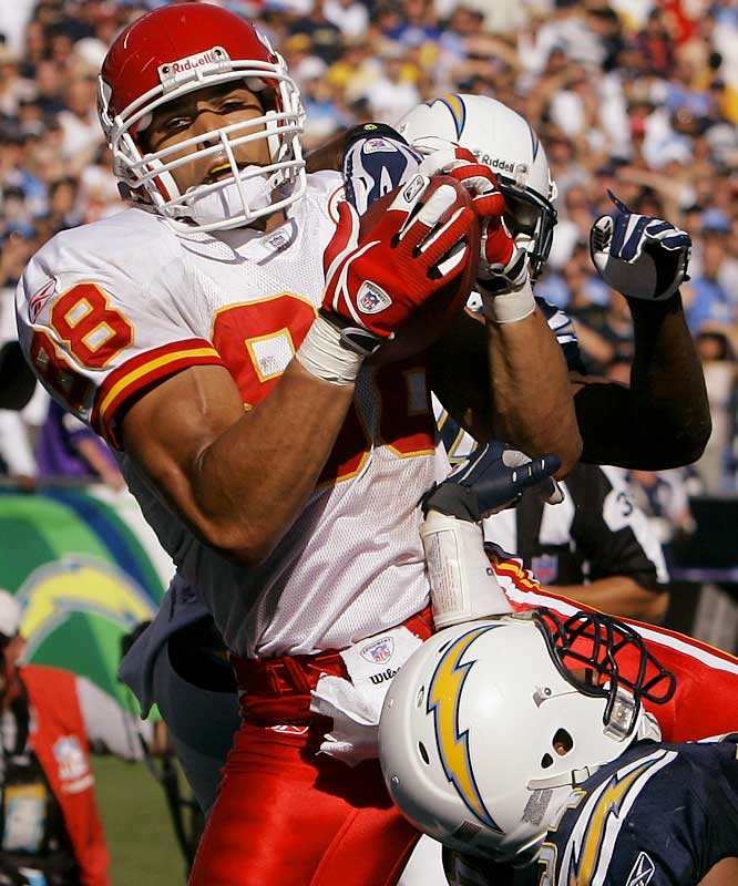 Tony Gonzalez became the all-time leader in touchdown receptions by a tight end in Week 6.  In seven of his 11 seasons, Gonzalez has caught 70 or more passes. He has more than 9,000 receiving yards throughout his career.