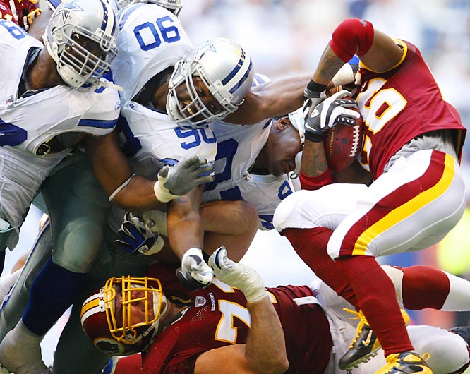 The Dallas defense demonized a Washington rushing attack that ranked eighth in the league entering Sunday. Clinton Portis, the second-most prolific rusher in the NFC, mustered just 36 yards on 12 carries.