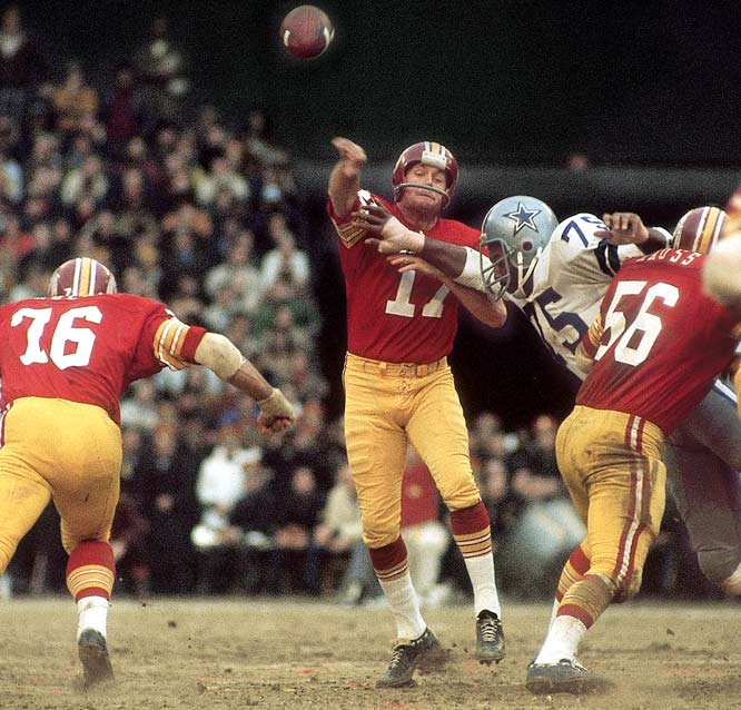 The first postseason meeting between the two sides occurred in the NFC Championship Game on New Year's Eve with the winner advancing to face the undefeated Miami Dolphins in Super Bowl VII. Washington's Billy Kilmer hooked up with Charley Taylor on a pair of touchdown passes -- including a memorable 45-yard connection -- as the Redskins stormed to a 26-3 victory at RFK Stadium.