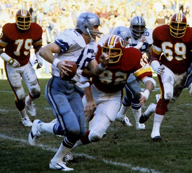 "Roger Staubach's two touchdown passes during the final 140 seconds of regulation helped the Cowboys to an improbable 35-34 victory -- a result which knocked the stunned Redskins out of the playoff picture. ""The Lord giveth and He can take it away in a hurry,"" stunned Washington coach Jack Pardee would say. ""That's the only way to understand what took place here."""
