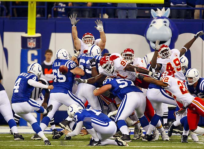 After missing four consecutive field goal attempts, two the previous week and two against the Chiefs, Adam Vinatieri made a 24-yard kick with four seconds left to give the Colts a victory over Kansas City.