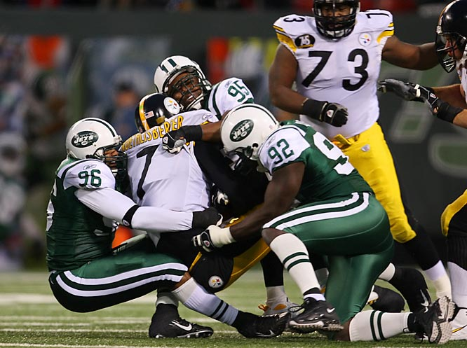 The Jets defense had its best game by far this season by sacking Ben Roethlisberger seven times and holding Willie Parker to 52 yards on 21 carries.  New York came in ranked 30th overall on defense and last against the run, with just nine sacks on the season.