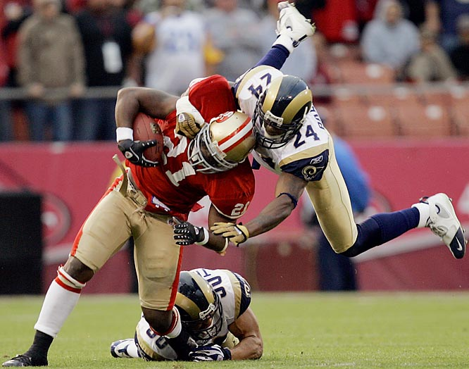 The Rams' defense had given up over 120 yards per game on the ground going into Sunday, but held Niners' running back Frank Gore to just 32 yards on 15 carries.