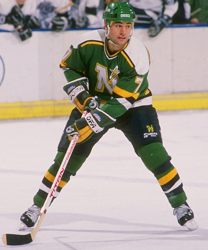 The Roseau, Minn., native was a main man on Minnesota's 1979 NCAA title team and was drafted by his home-state North Stars that year. He skated for the 1980 Miracle on Ice team and won the 1980-81 Hobey Baker Award before starting his 17-year pro career. Broten was the first American to top 100 points in a season (1985-86) and he won a Stanley Cup with the Devils (1995) before finishing with 289 goals, 923 points and enshrinement in the U.S. Hockey Hall of Fame (2000).