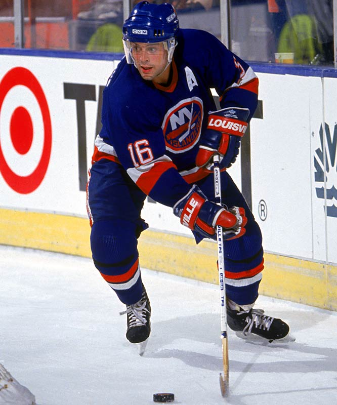 Injuries plagued and cut short the brilliant career of this flashy center, who was born in St. Louis but raised in Detroit. Drafted third overall by the Islanders in 1983, he scored 468 goals and 1,013 points in 15 seasons, which included a streak of six 40-plus goal campaigns for New York and Buffalo. He was inducted into the U.S. and the Hockey Hall of Fame in 2003.