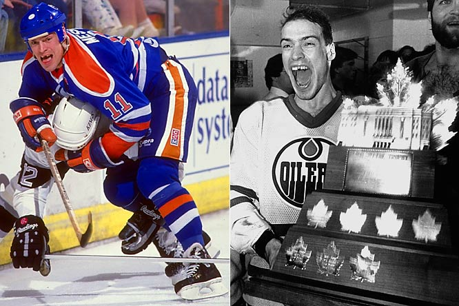 "A big, fast, edgy scorer and playmaker as well as the consummate leader, ""Moose"" was the definition of complete player and the fire in the belly of the Oilers' dynasty. He earned the Conn Smythe Trophy (playoff MVP) in 1984 when Edmonton won the first of its five Stanley Cups. Messier fully emerged from the shadow of the departed Wayne Gretzky when, as captain in 1989-90, he reached a career-high of 129 points, won the Hart Trophy (NHL MVP), and led the Oilers to the Cup."
