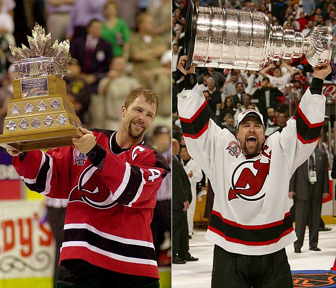 After one season in St. Louis (1990-91), Stevens was awarded to the Devils as compensation for the Blues signing Brendan Shanahan. Appointed captain, Stevens and his trademark booming hits vs. Detroit in the 1995 Cup final ignited the Devils' run to the first of three championships during his 13-year tenure. In 2000, he won the Conn Smythe as the Devils downed Dallas in six games for the Cup.