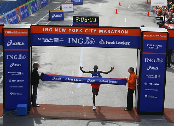 Martin Lel crossed the finish line in an impressive 2:09:04.