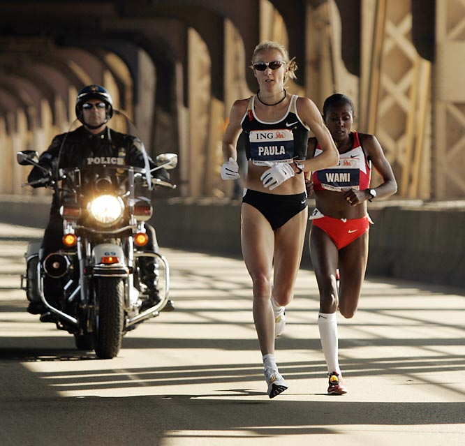 Paula Radcliffe and second place finisher Gete Wami were step for step throughout most of the race.