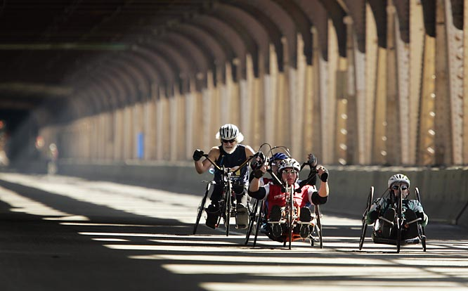 Wheelchair competitors vie for position.