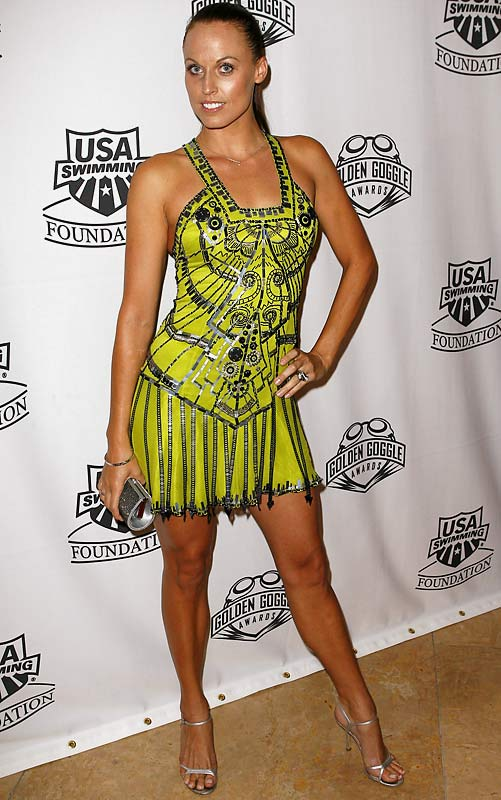 Swimmer Amanda Beard keeps up her sexy reputation in a slinky lime-green number at the Goggle Awards in Beverly Hills.